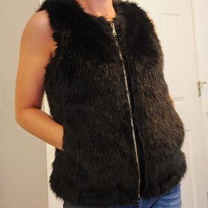 Express Black Faux Fur Full Zip Pocket Vest